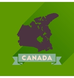 Flat icon with long shadow canada map vector