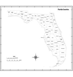 florida state outline administrative map vector image