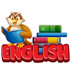 Font design for word english with owl reading book vector