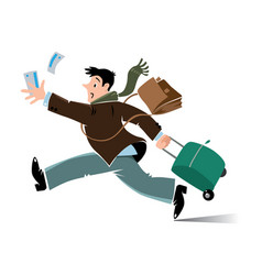 Funny late air man passenger with suitcase vector