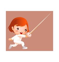 Girl in fencing costume vector