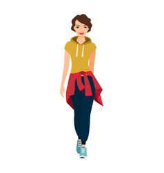 Girl in sports clothes vector
