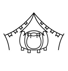 glamping tent grunge logo vector image