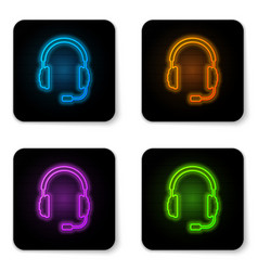 glowing neon headphones with microphone icon on vector image
