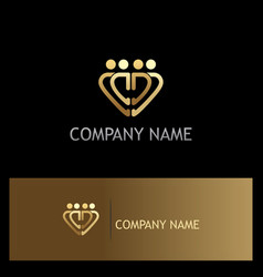 Gold heart group logo vector