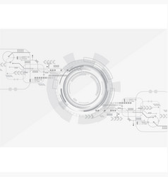 Grey circle technology background vector