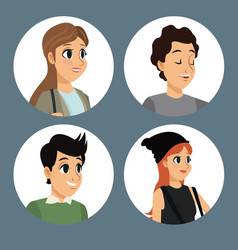 group people communication dialog round icons vector image