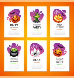 halloween greeting cards light set vector image