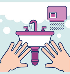 hands with wash basin hand dryer bathroom vector image