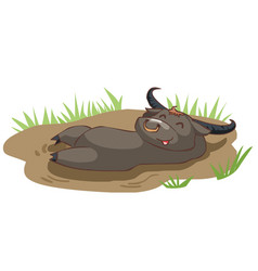 Happy buffalo take a bath in mud vector