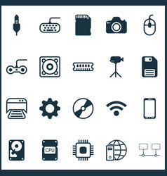 Hardware icons set collection of aux cord vector