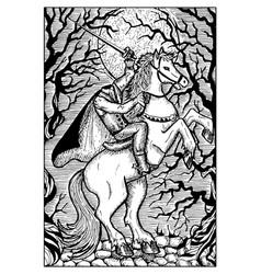 Headless horseman engraved fantasy vector