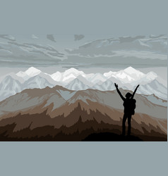 Hiker enjoying landscape with mountains vector