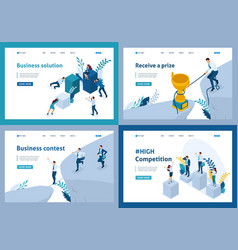 isometric business solutions receive a prize vector image