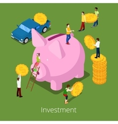 Isometric Investment Process Piggy Money Box vector image