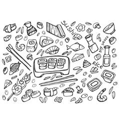 Japanese food - sushi doodle set vector
