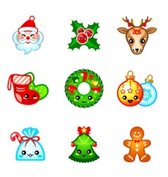 Kawaii Christmas icons vector image
