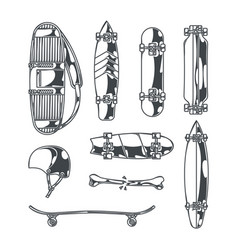 large skateboard set vector image