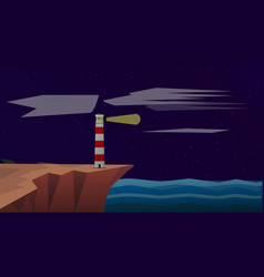 lighthouse on the sea at night lighthouse vector image