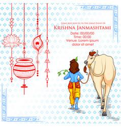 Lord krishna in happy janmashtami festival vector