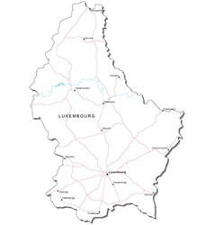 Luxembourg Black White Map vector