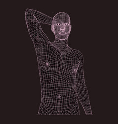 Man in a thinker pose 3d model man geometric vector