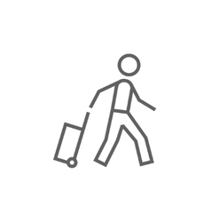 Man with suitcase line icon vector image