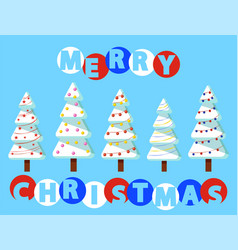 merry christmas pine trees with snow and garlands vector image