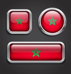 Morocco flag glass buttons vector image