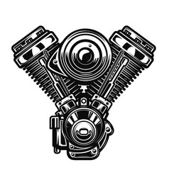 Motorcycle engine on white background vector