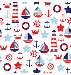 Nautical baby marine pattern vector