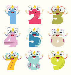Of funny cartoon numbers vector