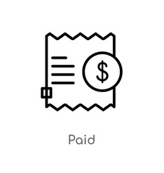 Outline paid icon isolated black simple line vector