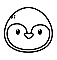 penguin face polar animal bird icon thick line vector image