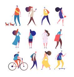 people walking cartoon persons walk street men vector image
