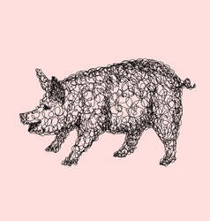 Pig abstract artistic lines vector image