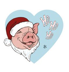 pig wearing a scarf and santa hat vector image
