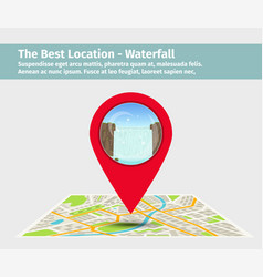 Point on the map with waterfall vector