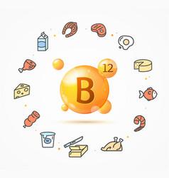 Realistic detailed 3d vitamin b12 gold pill vector