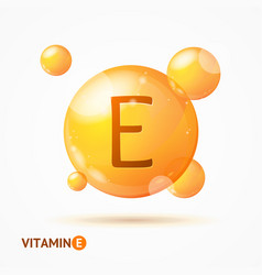 Realistic detailed 3d vitamin e background card vector
