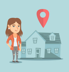 Realtor and house with map pointer on background vector