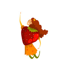 Ripe strawberry cartoon character happy girl in vector