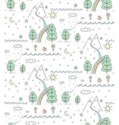 Seamless Nature Landscape Line Drawing vector image