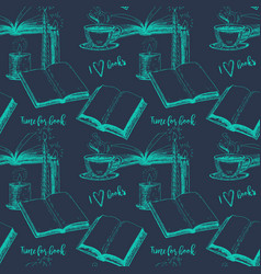 Seamless vintage pattern with books vector