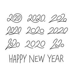 Set 2020 calligraphic numbers editable stroke vector