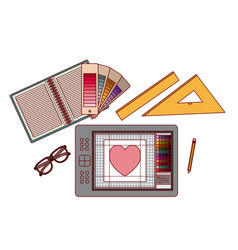 set elements graphic design creative process on vector image