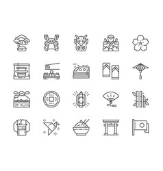 set japanese culture line icons bonsai tree vector image