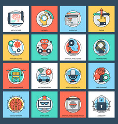 set of artificial intelligence flat icons vector image