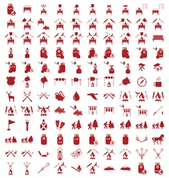Set of camping tourism equipment icons vector