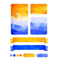 Set of colorful design elements in blue and yellow vector image